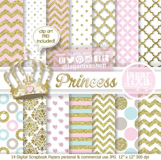 Princess Digital Paper and Crown clipart PNG, Gold Glitter, Pale.