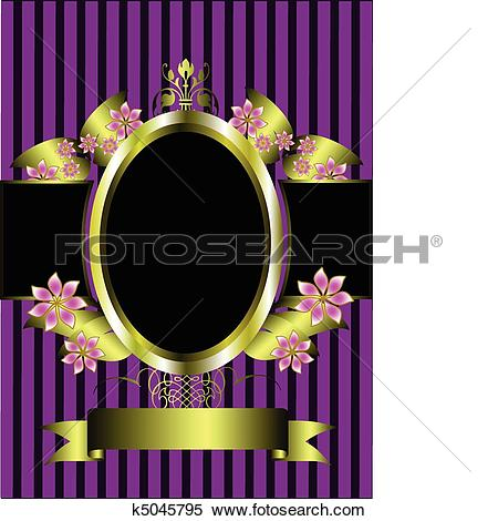 Clipart of gold floral frame on a classic purple striped.