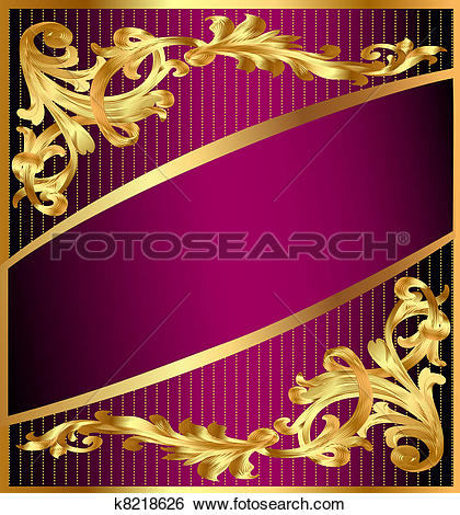 Clip Art of background with gold(en) ornament and lilac band.