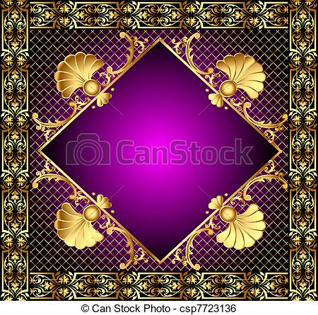 Clip Art Vector of lilac frame with vegetable and gold(en) pattern.
