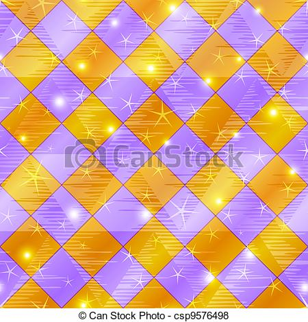 Vector of Abstract gold and lilac seamless plaid.