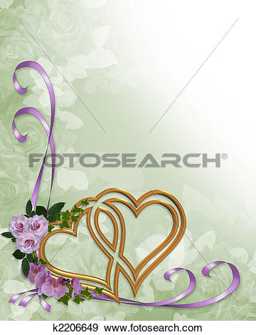 Stock Illustration of Wedding invitation gold hearts k2206649.