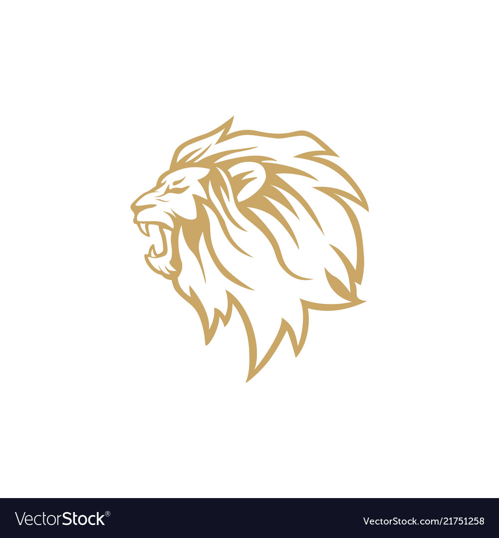 Angry roaring gold lion head logo design.