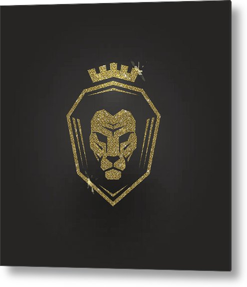 Glitter Gold Lion Logo Metal Print.