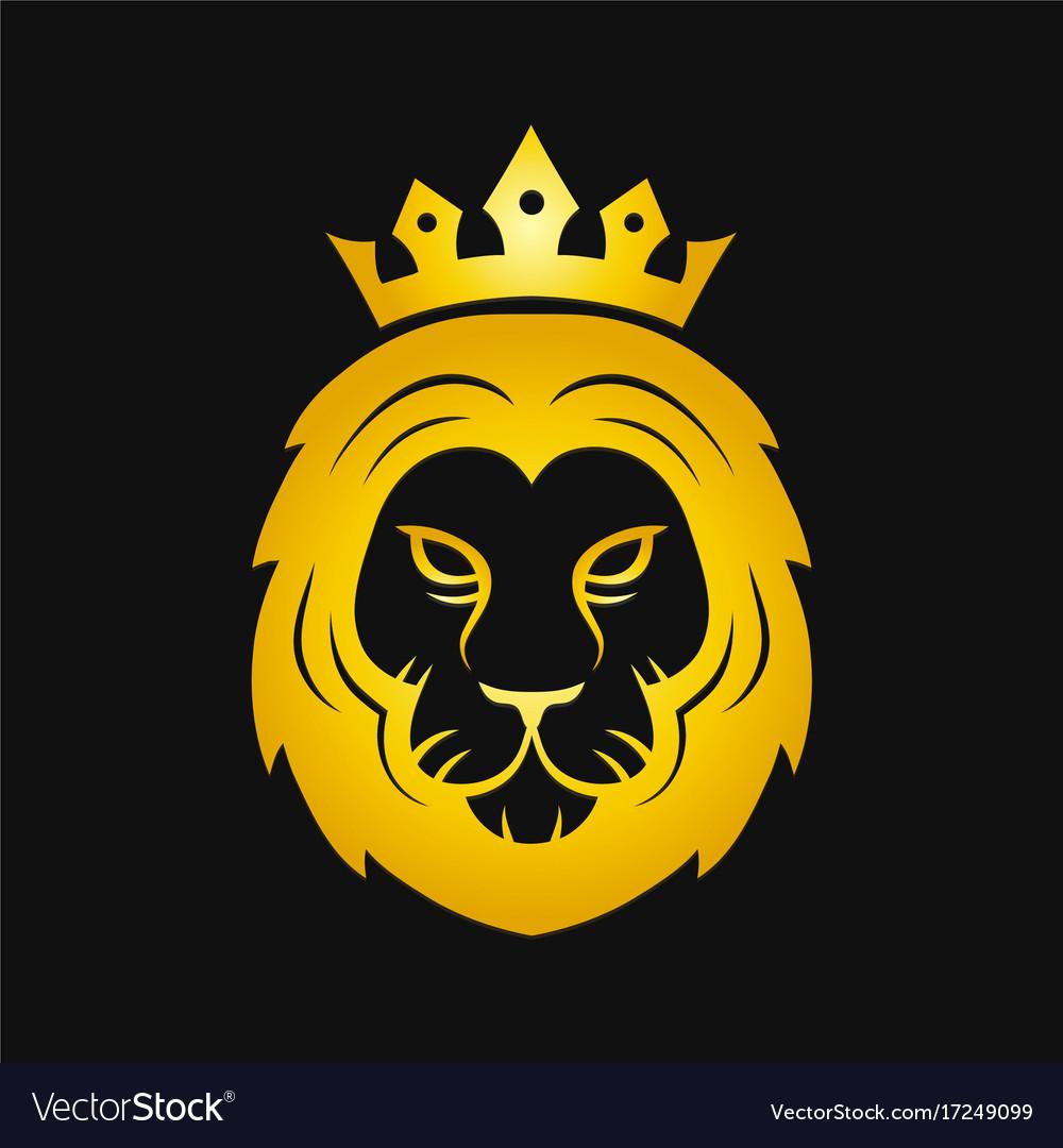 Head of a gold fierce crowned lion logo.