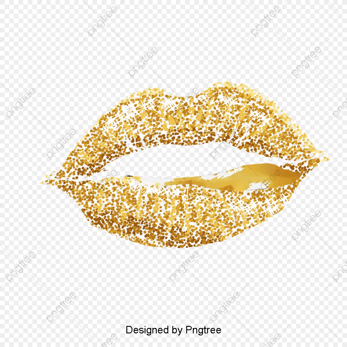 Gold Lips Vector Image, Golden, Lips, Vector Image PNG Transparent.