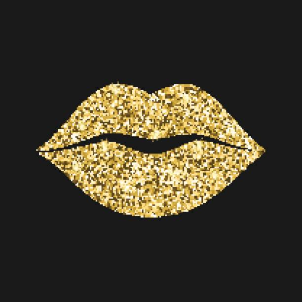 Best Gold Lips Illustrations, Royalty.