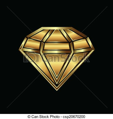 Vector Clipart of Gold diamond image logo.