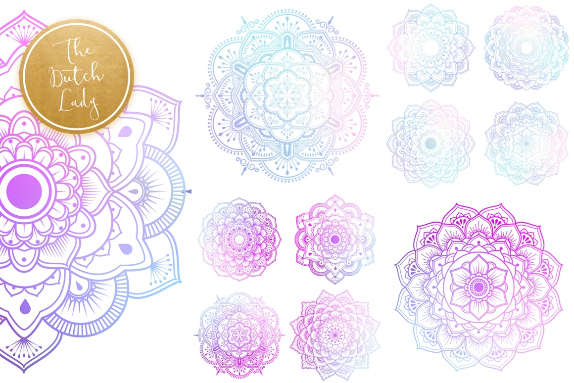 Mandala Clipart in Blue & Gold.
