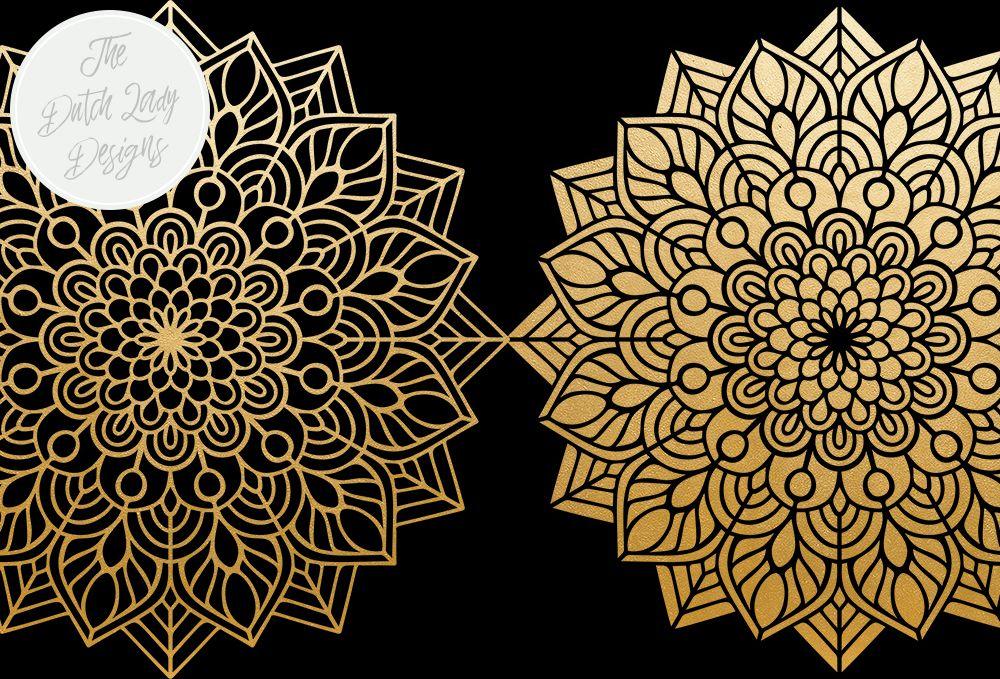 Mandala Clipart Set Rainbow & Gold in 2019.