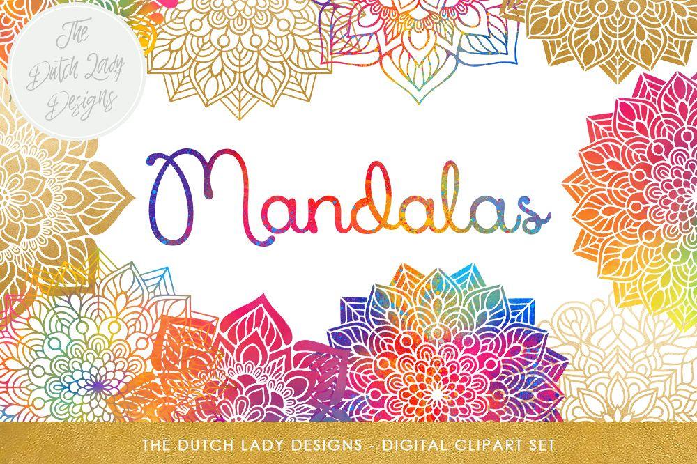 Mandala Clipart Set Rainbow & Gold.