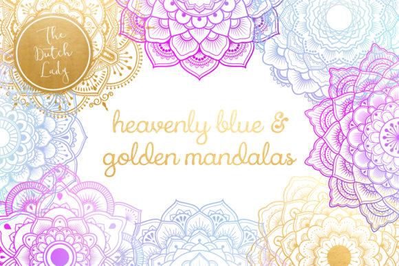Mandala Clipart in Blue & Gold.