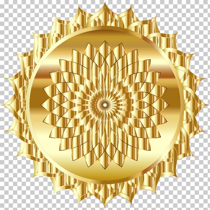 Mandala Symbol , GOLD LINE PNG clipart.