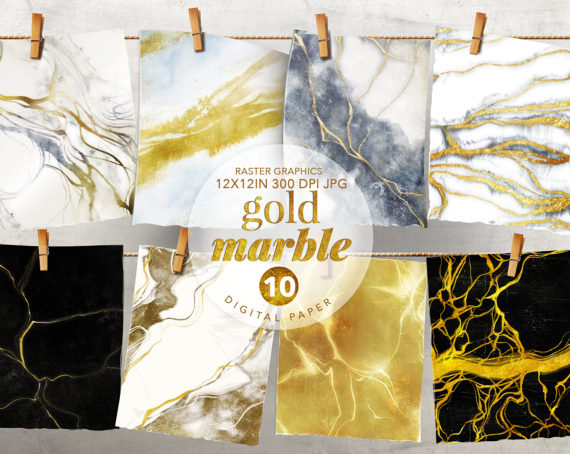 Gold Marble Digital Paper, Gold Wallpaper, Gold Marble.