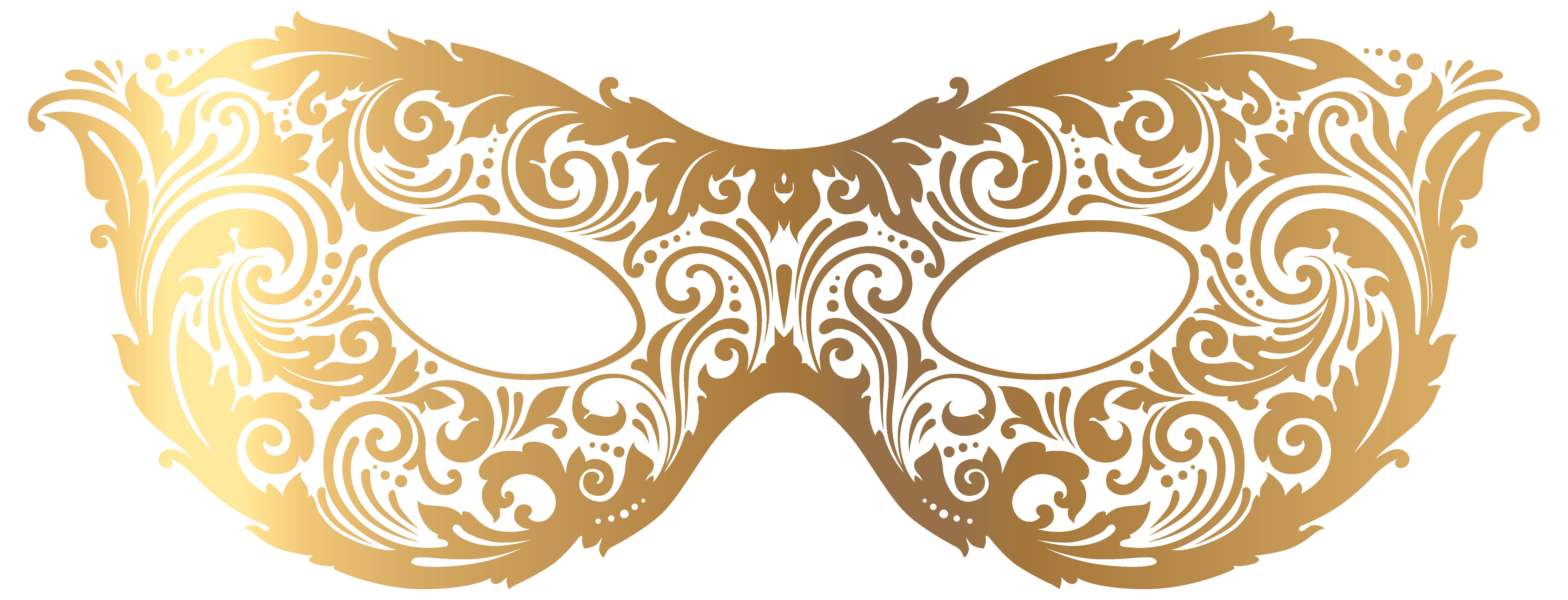 Gold Carnival Mask PNG Clip Art Image.