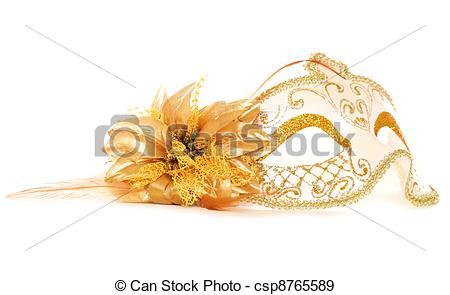 Stock Photographs of Gold masquerade mask on white background.