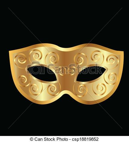Clipart Vector of Vintage golden mask vector logo.