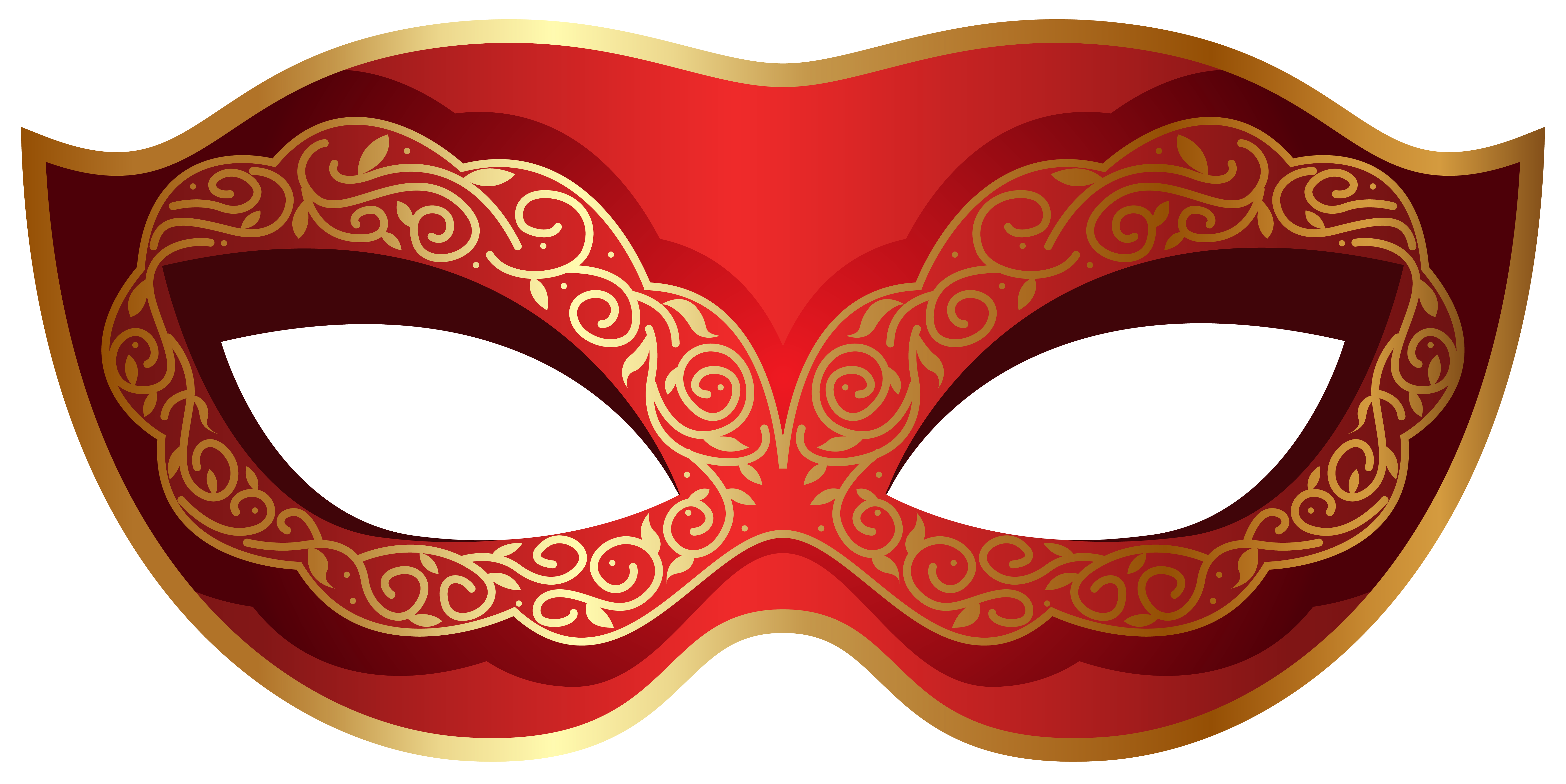 Red and Gold Carnival Mask PNG Clip Art Image.