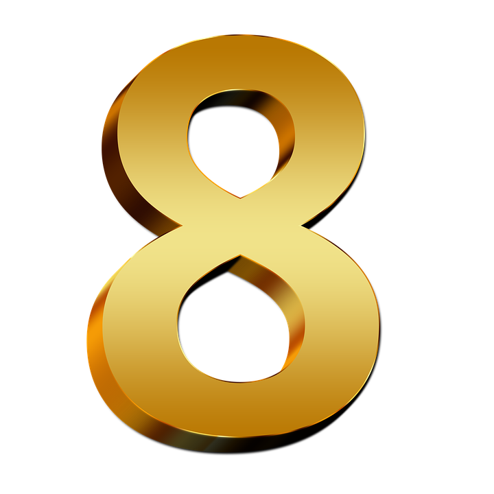 Free illustration: Pay, Gold, Eight, Number, Digit, 3D.