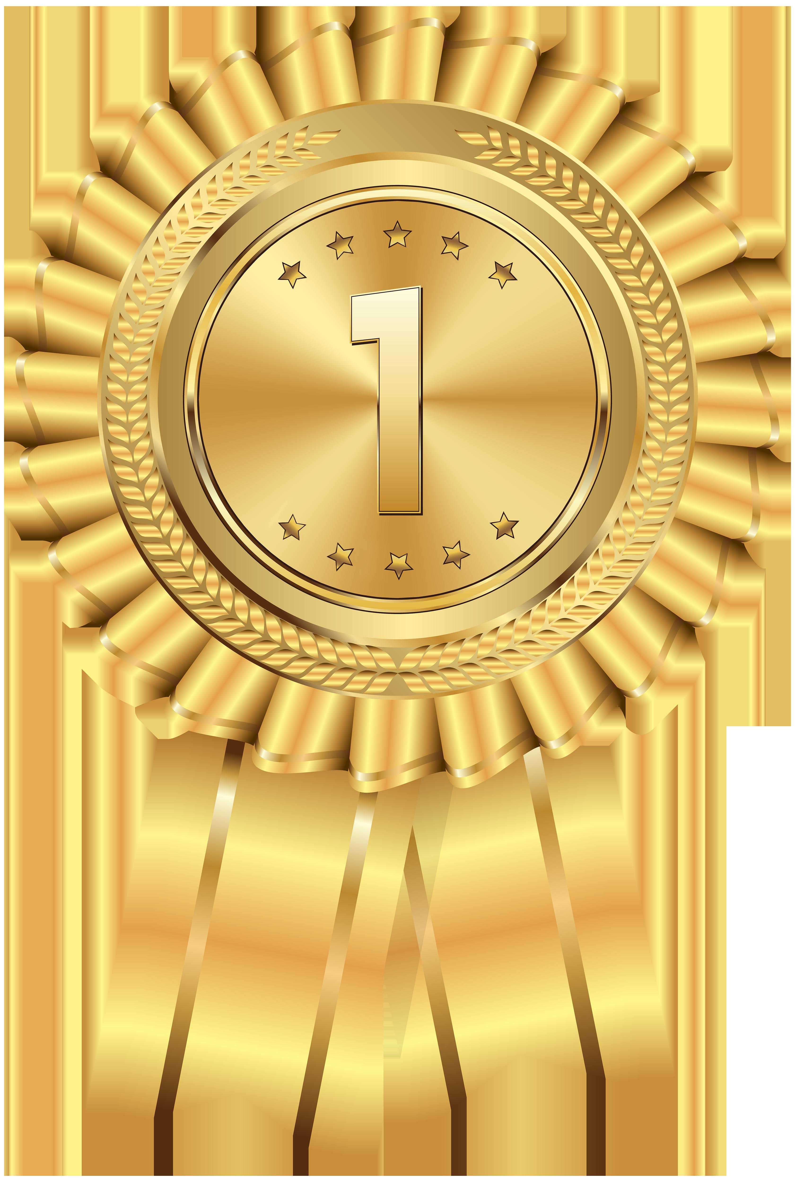 Gold Medal Transparent PNG Clip Art Image.