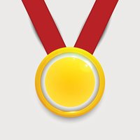 Vector Gold Medal on Red Ribbon stock vectors.