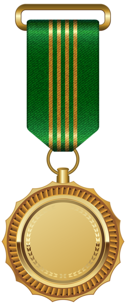 Gold Medal with Blue Ribbon PNG Clipart Image.