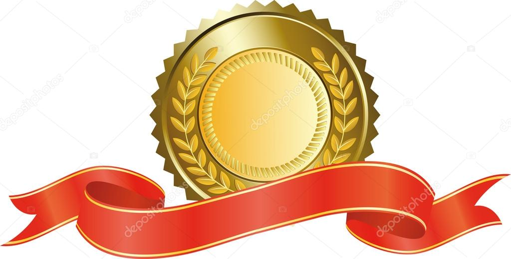 Gold medal and red ribbon — Stock Vector © drogatnev #3020355.