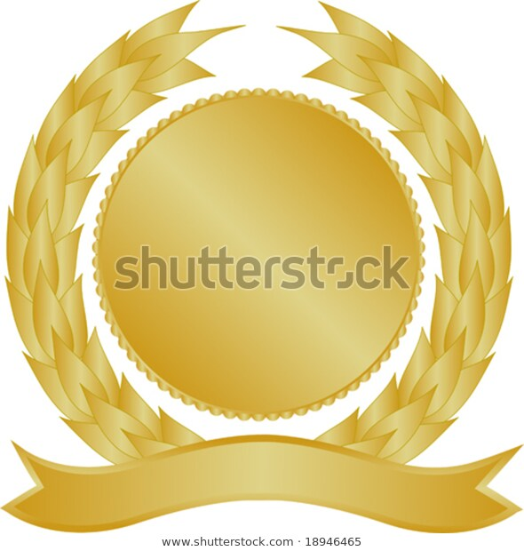 Gold Medallion Wreath Banner Stock Vector (Royalty Free) 18946465.
