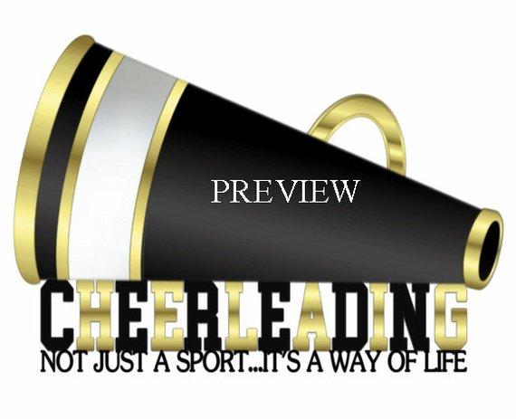 Cheerleading Megaphone clip art, MANY COLORS, black gold.