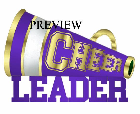 Cheerleader Megaphone clip art, MANY COLORS, purple gold.