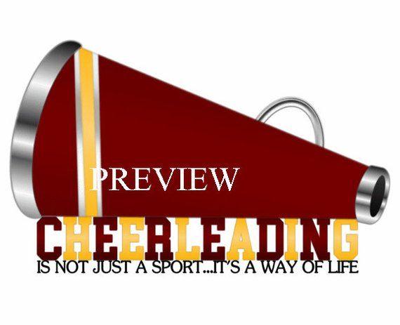 Cheerleading Megaphone clip art, MANY COLORS, maroon yellow.