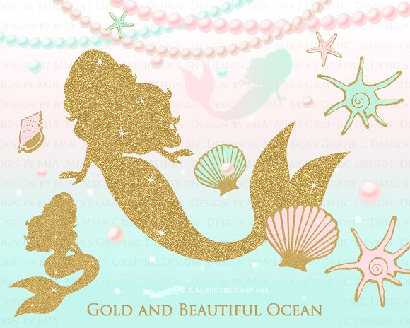 Mermaid Gold Clipart,Pattern.