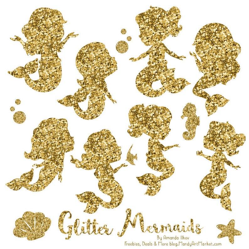 Cute Glitter Mermaids Clipart.