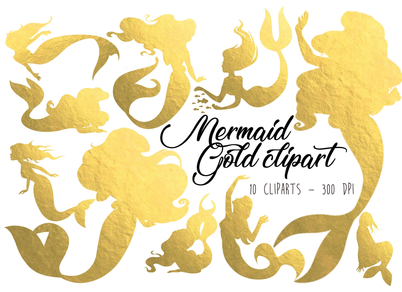 Mermaid Clipart Gold Mermaid clip art Gold Foil Mermaid clipart Mermaid  graphics Mermaid illustration Gold clipart PNG Mermaid elements gold.