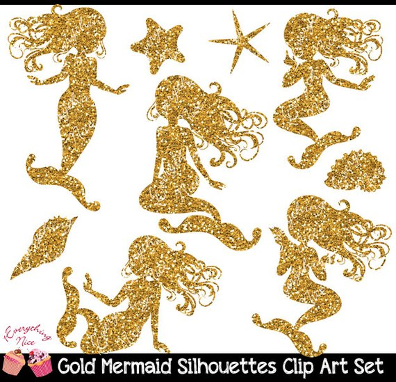 Gold Glitter Mermaid Silhouettes Clipart Set.