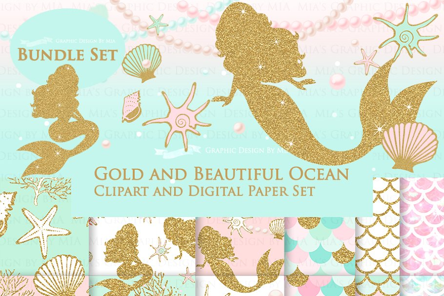 Mermaid Gold Clipart,Pattern ~ Illustrations ~ Creative Market.