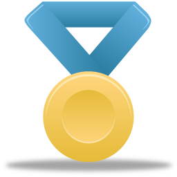 Award, blue, gold, medal, metal icon.