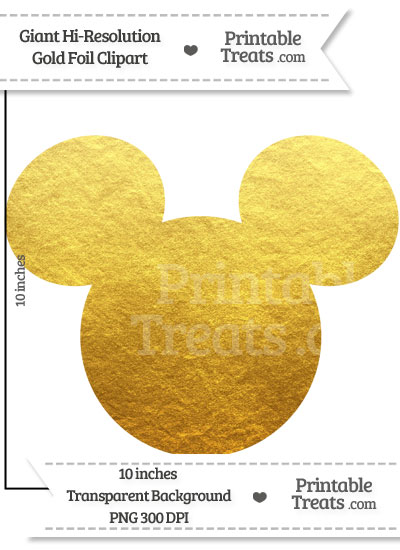 Gold Foil Giant Mickey Mouse Head Clipart from PrintableTreats.com.