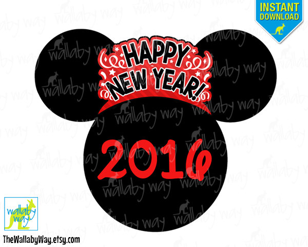 New Years Eve 2017 Mickey Printable Iron On Transfer or Use as.