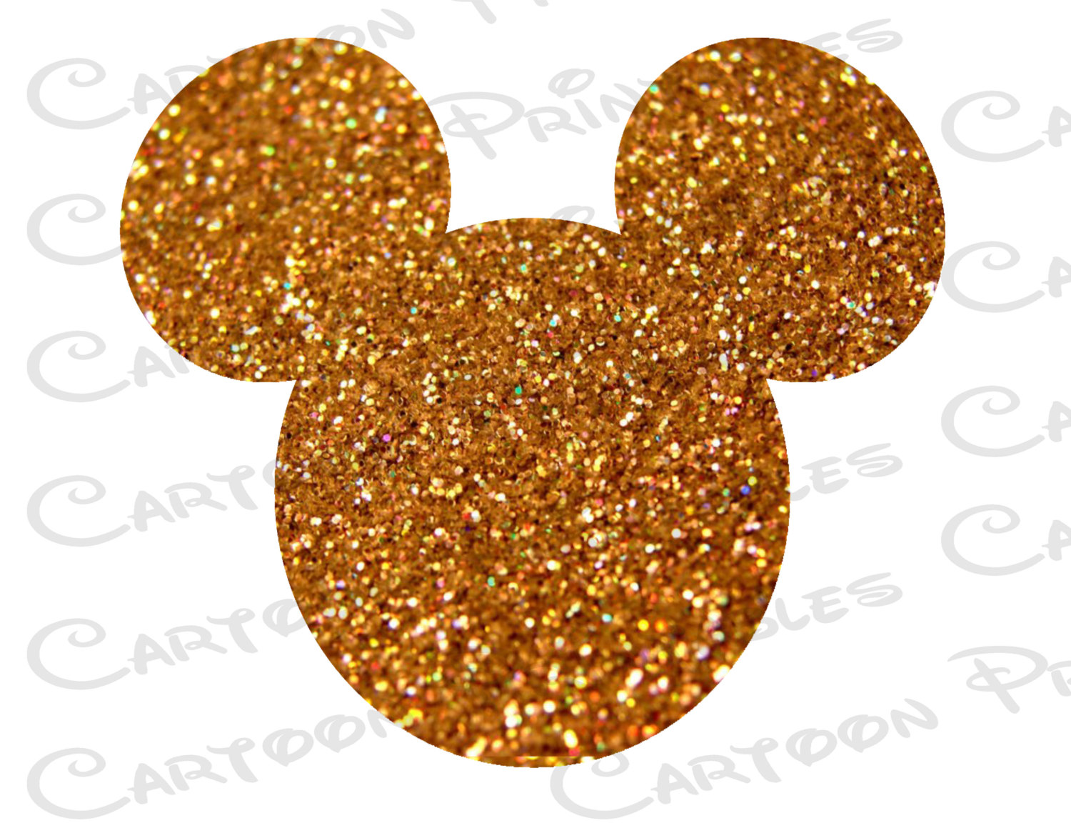 Mickey Mouse Head Gold Glitter Bling IMAGE Mouse Ears.