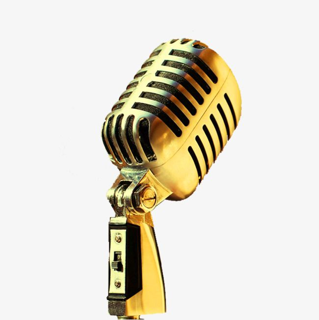 Fig Golden Microphone, Microphone Clipart, Microphone PNG.