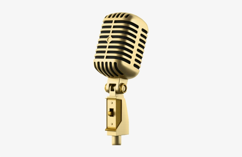 Golden Microphone Png.