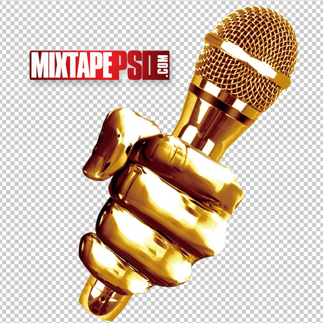Gold Microphone Cut PNG.