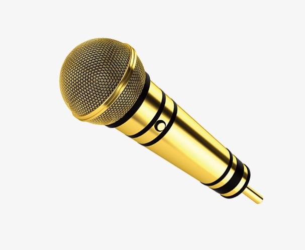 Golden Microphone, Microphone Clipart, Microphone PNG Transparent.
