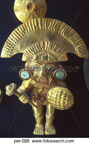 Stock Images of Gold Figure of Inca Warrior Gold Museum Lima Peru.