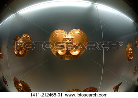 Stock Photography of Colombia, Bogota, Artifact exhibit at Gold.