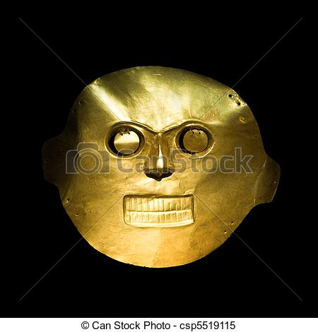 Stock Images of Golden mask in the Gold Museum, Bogota, Colombia.
