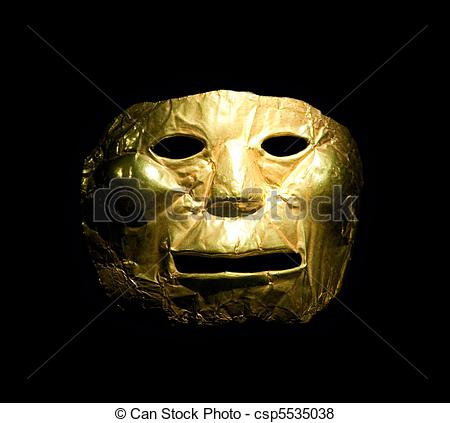 Pictures of Golden mask in the Gold Museum, Bogota, Colombia.
