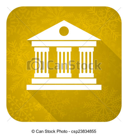 Stock Illustrations of museum flat icon, gold christmas button.