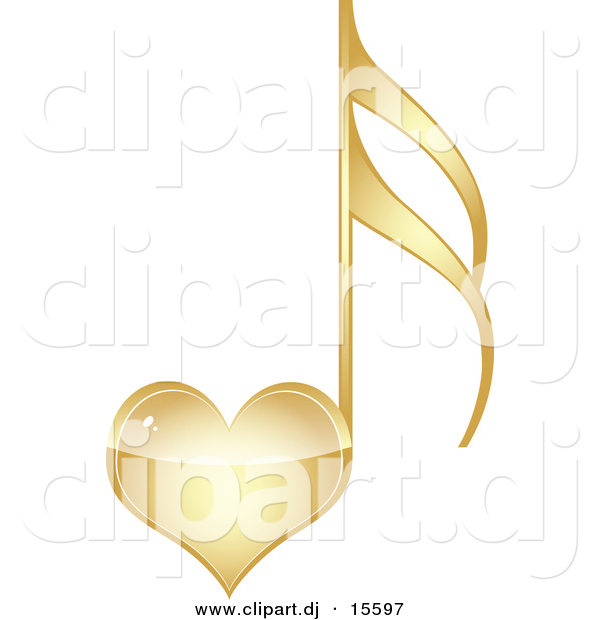 Vector Clipart of a Gold Love Heart Music Note by Andrei Marincas.